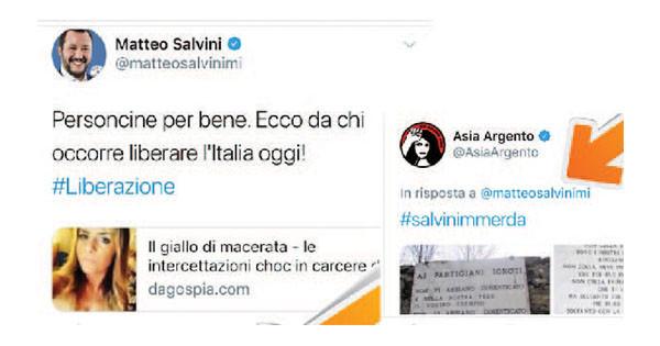 Asia Argento insulta Salvini, la risposta: