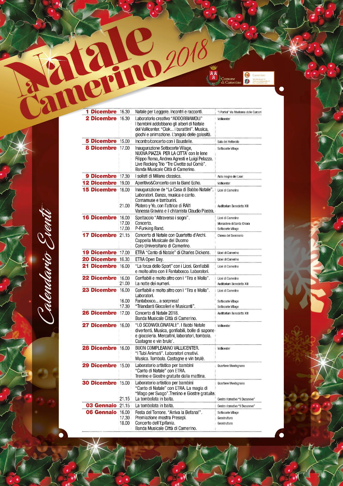 Natale Calendario.Calendario Natale Comune Camerino 2018 2019 Picchio News
