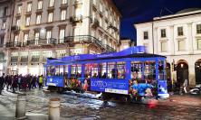 """Un tram """"griffato"""" Lotto a Milano"""