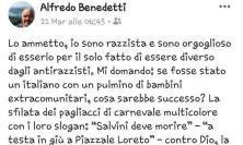 """Morrovalle, post shock dell'assessore Benedetti: """"Sono razzista e sono orgoglioso di esserlo"""""""