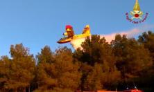 Bruciati 2000 metri quadrati di bosco sul Monte Conero: 7 lanci di Canadair per spegnere il rogo
