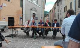 Riaperta la piazza di Muccia alla presenza di Sciapichetti e Spuri