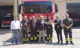 Vigili del fuoco, Zaffiri, Patassini e Pazzaglini in visita al Comando Provinciale di Macerata