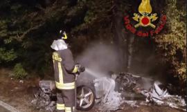 Muccia, Ferrari contro cinghiale: l'auto si incendia e finisce completamente distrutta