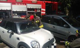 Allarme a Macerata: auto in fiamme in via Carradori (FOTO)