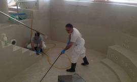 Sarnano, sanificazione delle terme di San Giacomo per prevenire Covid-19