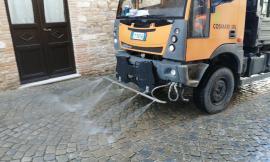 Montecassiano, iniziata la sanificazione straordinaria delle strade
