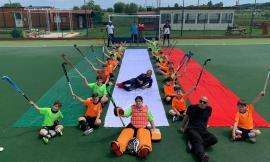 Hockey Potenza Picena, l'under 12 torna ad allenarsi colorando il campo con il tricolore