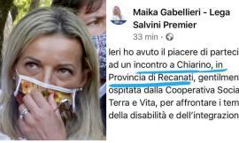 Maika Gabellieri scivola...sulla geografia: gaffe social, Recanati diventa provincia