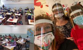 """Tolentino, visiere per gli alunni alla Lucatelli: """"Così ci si può guardare non solo gli occhi, ma anche la bocca"""""""