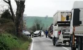 Treia, frontale tra auto e furgone lungo la 'Cingolana': un ferito trasferito al Pronto Soccorso
