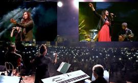 Castelraimondo, boom di presenze per l'evento con Povia e Luisa Corna: la piazza si illumina