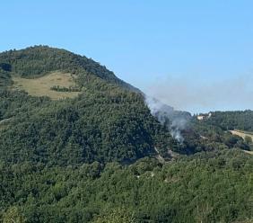 Bosco in fiamme a Valfornace: Vigili del Fuoco in azione (FOTO)