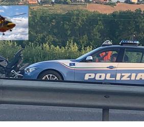 Morrovalle, perde il controllo della moto in superstrada: conducente soccorso in eliambulanza
