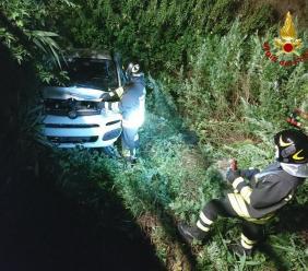 Morrovalle, auto si schianta contro il guardrail e finisce in un fossato: paura nella notte