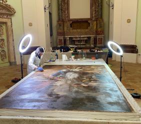 """Cingoli, restauro di un capolavoro: """"L' Immacolata concezione"""" di Gandolfi. Il 9 ottobre la presentazione"""