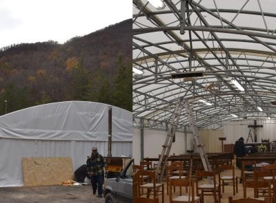 """La forza della solidarietà: completato il """"tendone chiesa"""" per il convento di San Liberato"""