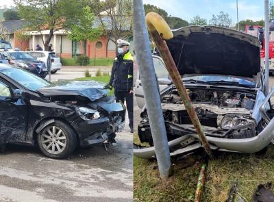 Tolentino - tremendo schianto tra due auto in viale Brodolini: una donna soccorsa in eliambulanza, è grave (FOTO)