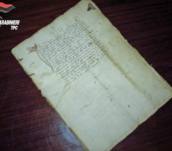 Caldarola, recuperato un manoscritto del 1434 rubato negli anni Ottanta