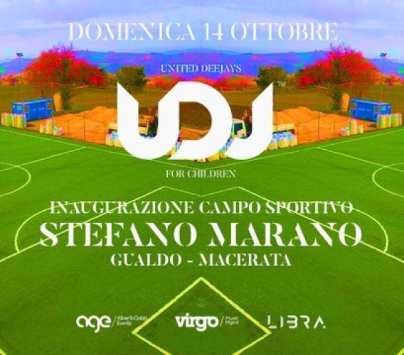 """Domenica 14 ottobre """"United DJ's for Children"""" inaugura il Campo Sportivo Stefano Marano a Gualdo"""
