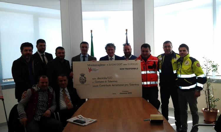 Da Montescaglioso 10mila euro in dono a Tolentino per la ricostruzione