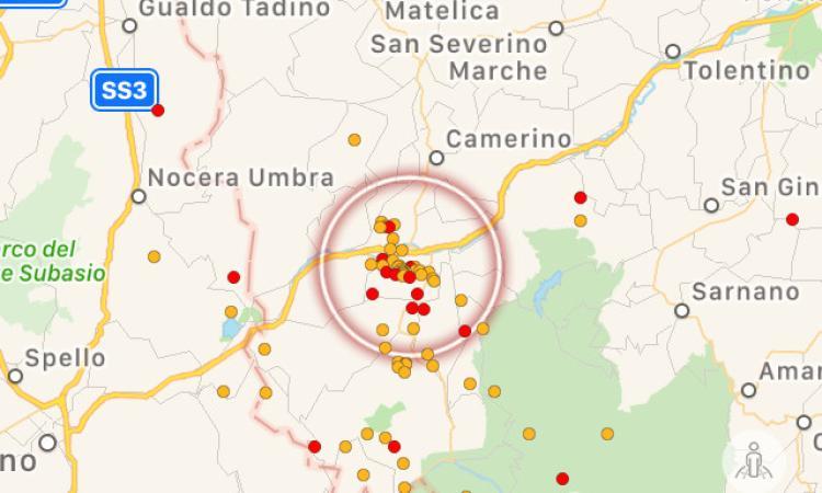 Sisma: quattro scosse di magnitudo superiore a 2.0 in dieci ore, la più forte a Muccia