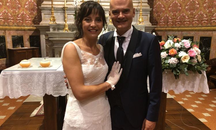 """L'allenatore della Lube Giampaolo Medei ha detto """"Sì"""" alla sua Enrica"""