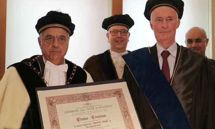 Unimc, laurea honoris causa in Giurisprudenza a Thomas Vormbaum