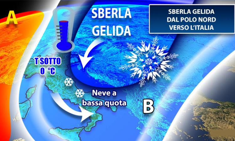Meteo, da lunedì arriva il gelo: nelle Marche neve fino a 800 metri