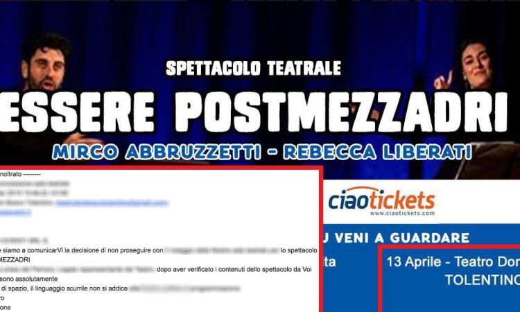 """Tolentino, """"Linguaggio scurrile e non adatto"""": il Teatro Don Bosco annulla lo spettacolo di Degrado Postmezzadrile. Ma il pubblico smentisce"""