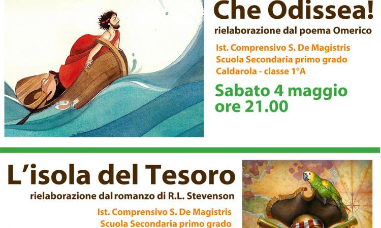 """Caldarola, in scena gli studenti del """"De Magistris"""" con """"Che Odissea"""" e """"L'isola del tesoro"""""""