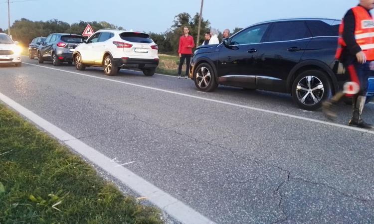 Urbisaglia, scontro tra quattro auto lungo la Statale: cinque feriti all'ospedale (FOTO)