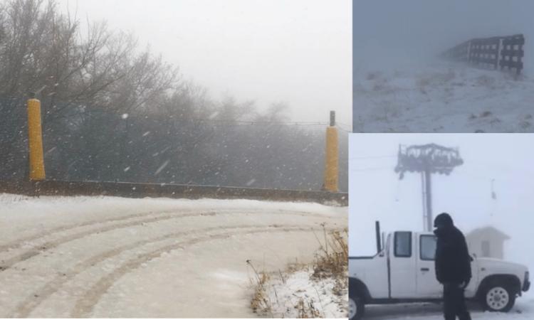 Bolognola, arriva la prima neve sugli impianti da sci (VIDEO)