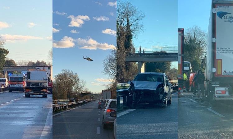 Morrovalle, schianto tra tir e furgone in superstrada: un uomo trasportato a Torrette (VIDEO e FOTO)