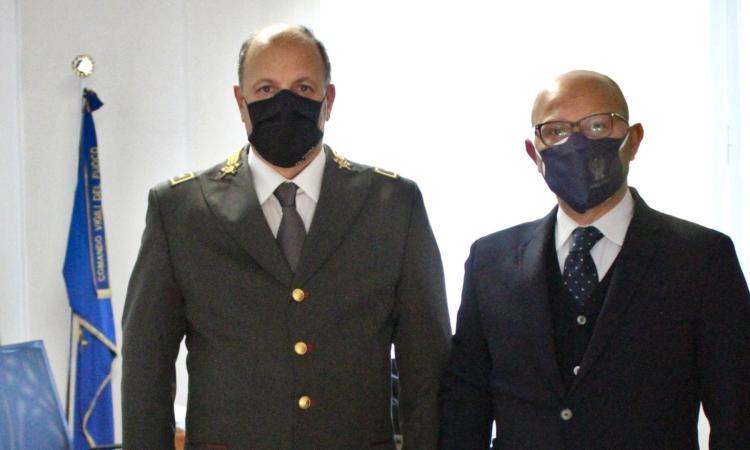 Macerata, il questore Trombadore in visita presso il Comando dei Vigili del Fuoco