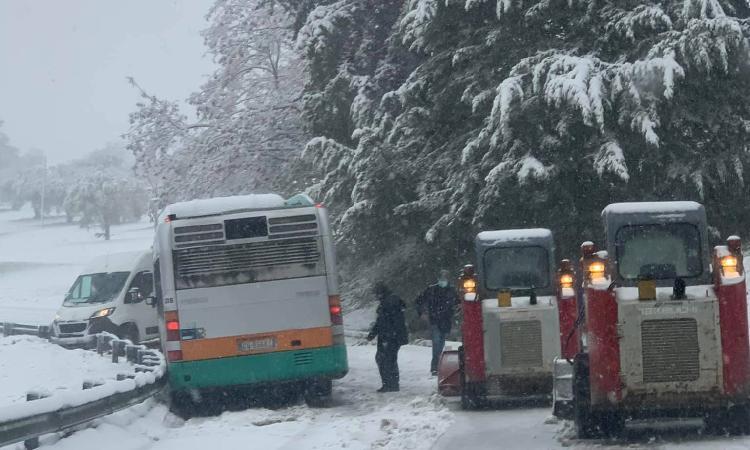 Provincia di Macerata sotto la neve: disagi al traffico e numerosi interventi dei Vigili del Fuoco (FOTO)