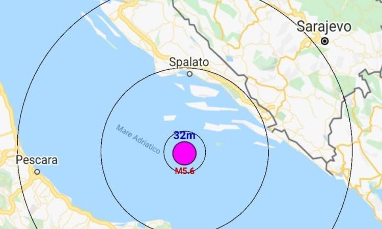 Terremoto di magnitudo 5.6 nel mare Adriatico: scossa avvertita anche nel litolare marchigiano