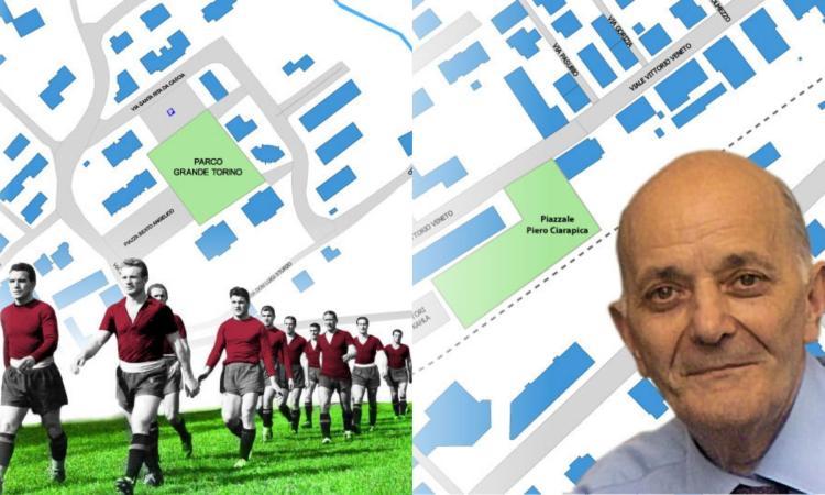Tolentino, un piazzale dedicato a Piero Ciarapica e un parco intitolato al Grande Torino